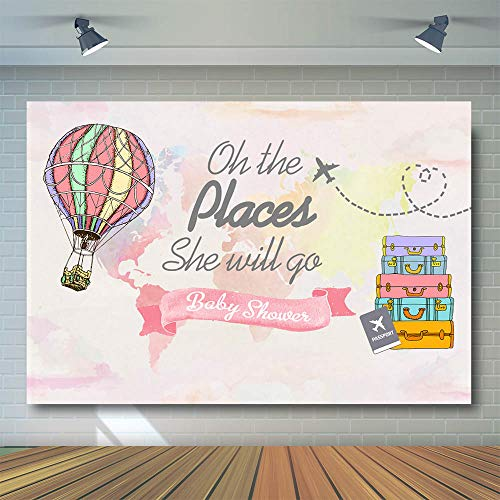 Places Travel (COMOPHOTO Oh The Places She Will Go Travel Baby Shower Background Photography Precious Cargo Backdrop Airplane Hot Air Balloon Party Decoration Photo Backdrops 7x5ft)