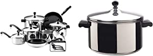 Farberware Classic Stainless Steel Cookware Pots and Pans Set, 15-Piece,50049,Silver & Classic Stainless Steel 6-Quart Stockpot with Lid, Stainless Steel Pot with Lid, Silver