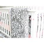 7-Pieces-Set-Grey-Floral-Baby-Crib-Nursery-Bedding-Set-with-Bumper