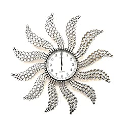 Meida Beautiful Large Wall Clocks Handmade Stylish Wall Clock with Crystals 2959(Sunburst 2) (Windmill Clock)