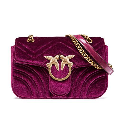- LA'FESTIN Brand Women Red Chain Purse Floral Bird Embroidery Velvet Shoulder Bag