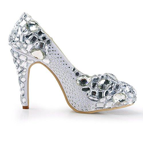 Minitoo , Escarpins pour femme - argent - Silver-10cm Heel, 38
