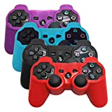 HDE Controller Skins for Sony PS3 4 Pack Combo Silicone Rubber Protective Grip for Sony PlayStation 3 Wireless DualShock Game Controllers (Purple, Blue, Black, Red)