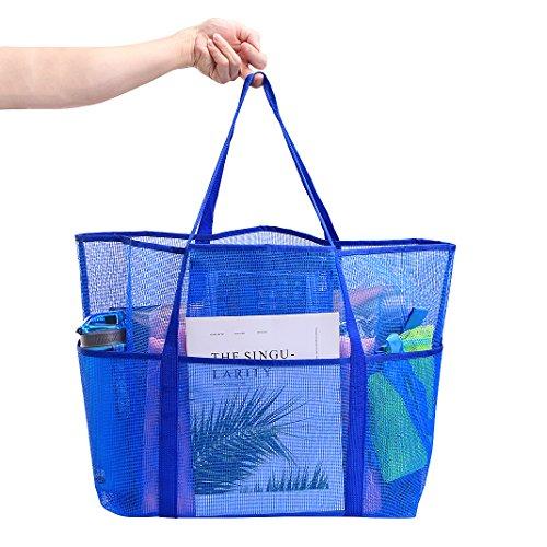 Netztasche strand,Kinder Spielzeug Strandtasche Aufbewahrung Beutel Tasche,Netz Sandspiel Aufbewahrungstasche Draussen Strand Shell Sandsack Netztasche,perfekt für den Strand,Swimmingpool,Spielzeuge,  Blau