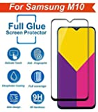 FASHIONISTA Full Glue for Samsung Galaxy M10 Full Coverage 5D Tempered Glass, Full Edge-to-Edge 5D Screen Protector for Samsung Galaxy M10 -Black (Pack of 1)