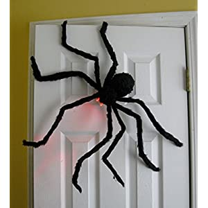Prextex Huge 4 Ft. Black Hairy Spider / Tarantula with LED Eyes for Halloween Haunt Décor Best Halloween Decoration
