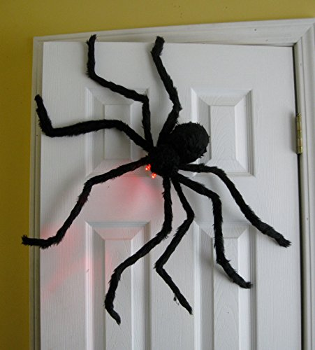 Prextex Huge 4 Ft. Black Hairy Spider / Tarantula with LED Eyes for Halloween Haunt Décor Best Halloween (Decor For Halloween)