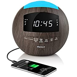 Mesqool Dimmable Alarm Clock Radio,Bluetooth Speaker,AM/FM Radio,AUX-IN,Dual USB Charging Port ,Multi-Color Night Light,Snooze,Sleep Timer