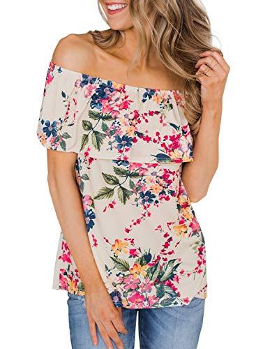 CILKOO WomensSpringFlowerPrintOffTheShoulderSlashNeckTopsRuffleT-ShirtBlouses Apricot US12-14 Large