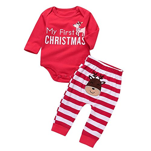Babys First Christmas Pjs - 2 Pcs Baby Boy Girls Christmas