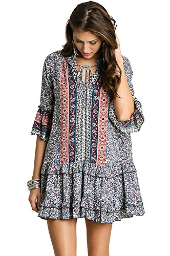 Umgee Womens Printed Mini Bell Baby Doll Boho Peasant Dress Top 3/4 sleeve (M, NAVY / (Baby Doll Peasant Top)