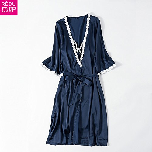 MH-RITA Pajamas women summer ice silk sexy straps lace Nightdress Spring and Autumn seasons of Service Pack Series L women,5570 deep ocean blue (2 piece)