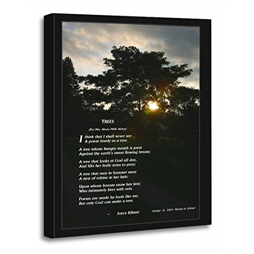 TORASS Canvas Wall Art Print Poetry Joyce Kilmer Poem Trees with Jersey Artwork for Home Decor 16