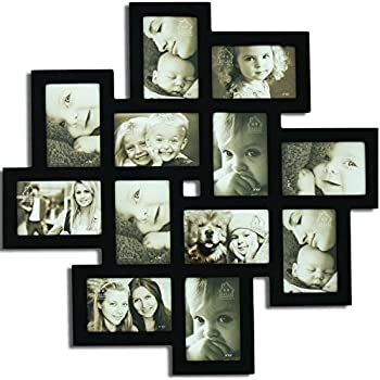 adeco pf0206 decorative black wood wall hanging collage picture photo frame 12 openings 4x6 - Wall Hanging Photo Frames Designs