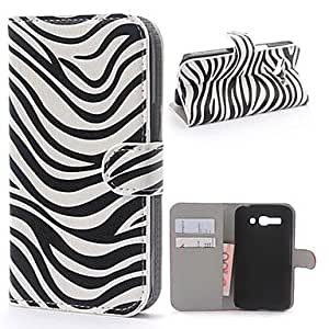 Zebra Pattern PU Leather Case with Stand and Card Slot for Alcatel One Touch Pop C9