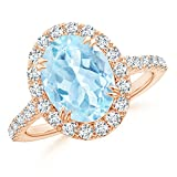 Double Claw Oval Aquamarine Halo Ring for Women with Diamond Accents