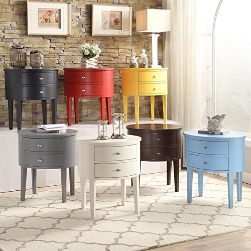 Double Drawer Oval Wood Accent Table (Grey)