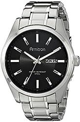 Armitron Men's 20/5010BKSV Day/Date Function Black Dial Silver-Tone Bracelet Watch