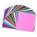 Permanent Adhesive Backed Vinyl Sheets 12''x12''-40 Sheets Assorted Colors (Matte and Glossy) for Cricut, Silhouette Cameo, Craft Cutter Machine, Printers, Letters, Car Decal, Decor Sticker, Vinyl Paper