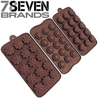 78Seven Silicone Molds 3 SET of Candy, Chocolate, Jello Silicone Molds.Flowers, Hearts, Smiley Face. Use as Ice Molds, Candy Molds, Chocolate Molds, Silicone Molds, Soap Molds Great Gift. Get It NOW!