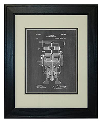 Tesla Electric Generator Patent Art Chalkboard Print in a Solid Pine Wood Frame with a Double Mat (11