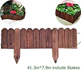 Creation Core Flexible Solid Wood Garden Edging Tree Plant Flower Picket Border Fence Decorative Lawn Divider,41.3inx7.9in include Stakes