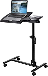 "LANGRIA Mobile Laptop Stand Rolling Cart, 23.6"" Tiltable Tabletop Height Adjustable Desk Bed/Sofa Side Table for Home Office"