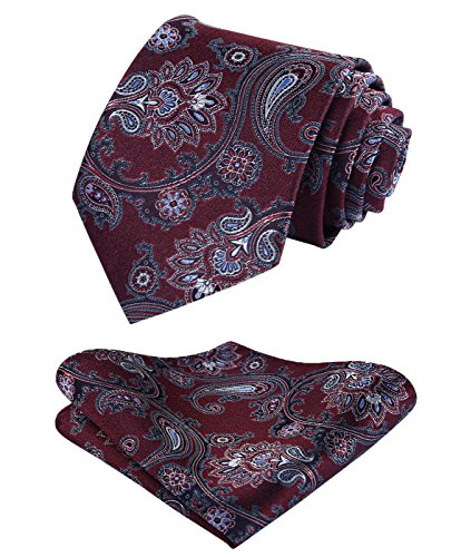 Floral Handmade Woven Tie - HISDERN Paisley Floral Tie Handkerchief Wedding Party Woven Classic Men's Necktie & Pocket Square Set Burgundy/White