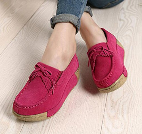 GFONE knot Running Breathable Tassels Fitness Rose Sneakers Loafers Platform Shoes Suede Bow On Casual Women's Wedge Slip Uxw75qIxr