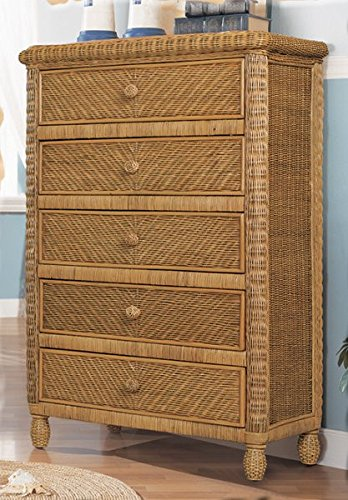 Stix 'N Things Santa Cruz 5 Drawer Wicker Chest Antique (Dresser Honey)