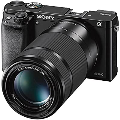 Sony Alpha a6000 Mirrorless Digital Camera with 16-50mm & 55-210mm Lens (Black) ILCE-6000Y/B and 500mm Preset f/8 Telephoto Lens + 0.43x Wide Angle, 2.2X Pro Bundle
