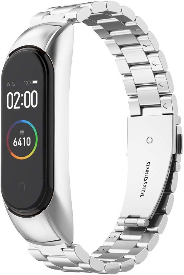 Simpeak Correa Compatible con Xiaomi Mi Band 4 (5.5-8.1 Pulgadas), Pulseras de Acero Inoxidable Wristband Repuesto Bandas Compatible con Xiaomi Mi Band 4 Fitness- Plata Brillante