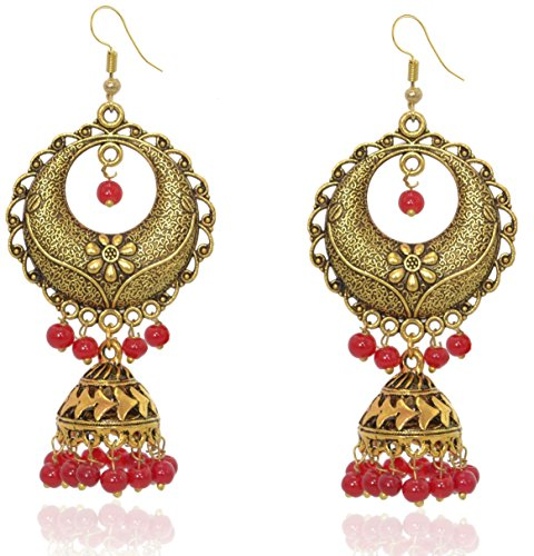 Indian Earrings Beaded Style (Sansar India Beaded Gold Plated Long Jhumka Indian Earrings Jewelry for Girls and Women)