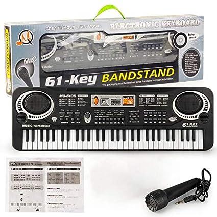 Harlls 61 Teclas Música Teclado Electrónico Digital Órgano Eléctrico Niños Grandes Regalos con Micrófono Aleatorio Instrumento