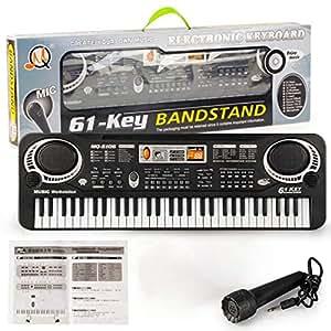 Kurphy 61 Teclas Música Teclado Electrónico Digital Órgano Eléctrico Niños Grandes Regalos con Micrófono Aleatorio Instrumento Musical: Amazon.es: Hogar