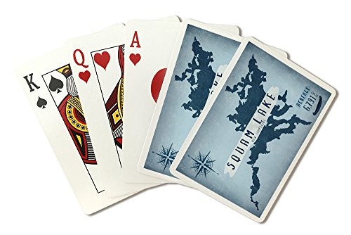 Squam Lake, New Hampshire - Lake Essentials - Lake Acreage and Compass (Playing Card Deck - 52 Card Poker Size with Jokers) by Lantern Press
