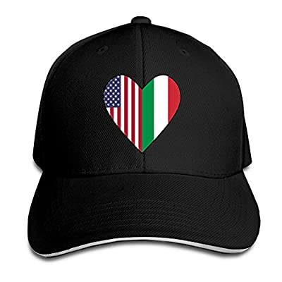 Women's/Men's Half Italian Flag Half USA Flag Love Heart Adult Adjustable Snapback Hats Peaked Cap