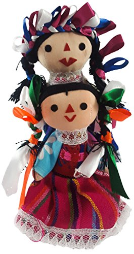 Mexican Maria Rag Doll 2 Pack Small Toys Handcraft Traditional Costume 7'' Assorted Colors & Models Bundle -
