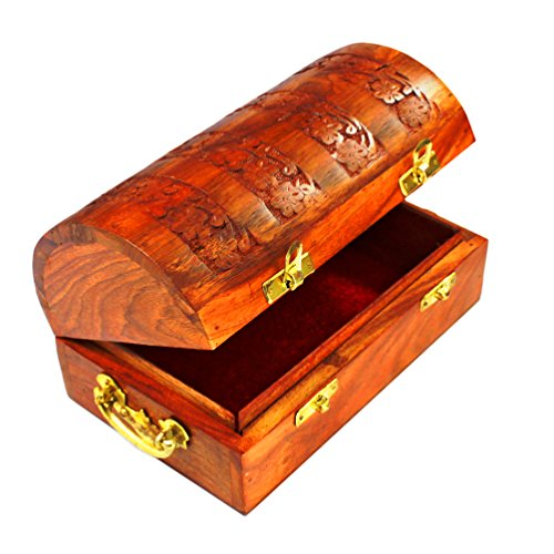 Handmade Decorative Wooden Jewelry Box Jewelry Organizer Keepsake Box Treasure Chest Trinket Holder Lock Box Watch Box Storage Box 8 x 5 Inches Birthd…