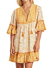 R.Vivimos Women's Summer Cotton Half Sleeve Ruffles V Neck Floral Print Tunic Dress