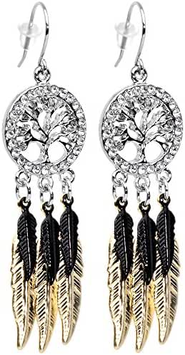 Body Candy Stainless Steel Clear Accent Falling Black Feathers Tree of Life Fishhook Dangle Earrings