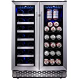 Phiestina Built In Dual Zone Wine and Beverage Cooler with Stainless Steel French Door