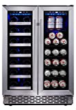 office beer cooler - Phiestina Built In Dual Zone Wine and Beverage Cooler with Stainless Steel French Door