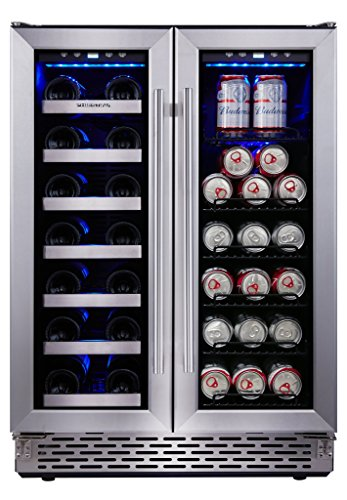 Phiestina Built In Dual Zone Wine and Beverage Cooler with Stainless Steel French (Beer Wine Refrigerators)