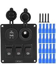 Light Rocker Switch Panel,Car Marine 3+2combination LED Single Rocker Green Light Switch+Car charger+Cigarette Lighter