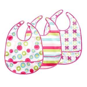 JJ Cole JFBLG3 - Pack de 3 baberos para niña, color rosa