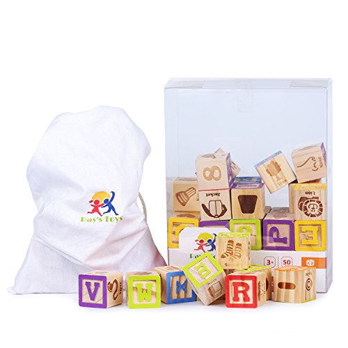 Wooden Alphabet Blocks Set by Ray's Toys: Colorful ABC & 123 Toddler Blocks w/ Cloth Storage Pouch/ Sturdy, Durable Learning Alphabet Building Blocks for Kids/ Top Educational Toy/ Great Gifting Idea Toy Abc Blocks