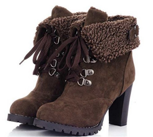 2015 Fashion Ankle Lace Up Boot Marrone Woman Alta Boot 37 Hot TYwqA8F