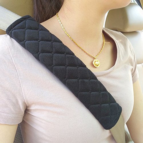 MIKAFEN CJ100 Universal Car Seat Belt Pads Cover,Seat Belt Shoulder Strap Covers Harness Pad For Car/Bag,Soft Comfort Helps Protect You Neck And Shoulder From The Seat belt Rubbing(2-Pack)