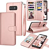 Galaxy Note 8 Case, Note 8 Wallet Case, Samsung Galaxy Note 8 PU Leather Case, Tekcoo Luxury Cash Credit Card Slots Holder Carrying Flip Cover [Detachable Magnetic Hard Case] & Kickstand - Rose Gold